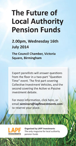 Click through for details of the future of local authority pension funds seminar in Birmingham on July 16th