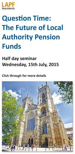 Click through for details of The Future of Local Authority Pension Funds seminar in York on July 15th 2015
